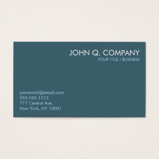 Slate Blue Minimal Clean Basic Business Card