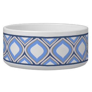 Slate Blue Ogee Ceramic Dog Bowl