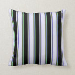[ Thumbnail: Slate Blue, Olive Green, Lavender, Black & Green Throw Pillow ]