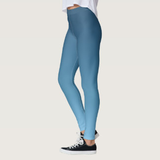 Slate Blue Ombre Gradient Fade Leggings
