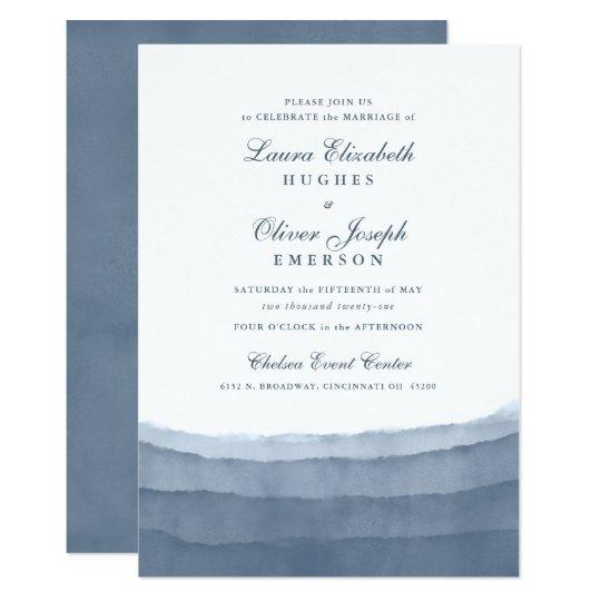 Slate Blue Ombre Watercolor Wedding Invitations