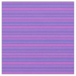 [ Thumbnail: Slate Blue & Orchid Colored Pattern of Stripes Fabric ]