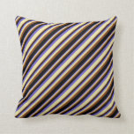 [ Thumbnail: Slate Blue, Pale Goldenrod, Brown, and Black Throw Pillow ]