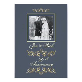 Slate Blue Photo Anniversary Invitations