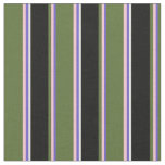 [ Thumbnail: Slate Blue, Pink, Dark Olive Green, Black & White Fabric ]