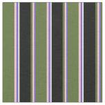 [ Thumbnail: Slate Blue, Pink, Dark Olive Green, Black & White Fabric ]