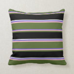 [ Thumbnail: Slate Blue, Pink, Dark Olive Green, Black & White Throw Pillow ]