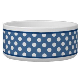 Slate Blue Polka Dot Pattern Ceramic Dog Bowl