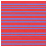 [ Thumbnail: Slate Blue & Red Colored Striped/Lined Pattern Fabric ]