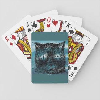 Slate Blue Steampunk Cat Drawing Playing Cards