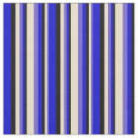 [ Thumbnail: Slate Blue, Tan, Black, and Blue Stripes Pattern Fabric ]