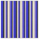 [ Thumbnail: Slate Blue, Tan, Black, and Blue Stripes Pattern Fabric ]
