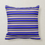 [ Thumbnail: Slate Blue, Tan, Black, and Blue Stripes Pattern Throw Pillow ]