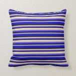 [ Thumbnail: Slate Blue, Tan, Black, and Blue Stripes Pattern Throw Pillow ]