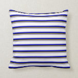 [ Thumbnail: Slate Blue, Tan, Black, Blue & White Colored Throw Pillow ]