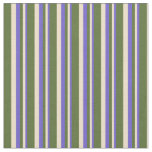 [ Thumbnail: Slate Blue, Tan & Dark Olive Green Colored Lines Fabric ]