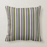 [ Thumbnail: Slate Blue, Tan & Dark Olive Green Colored Lines Throw Pillow ]