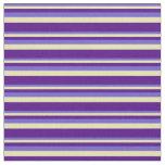 [ Thumbnail: Slate Blue, Tan & Indigo Colored Stripes Fabric ]