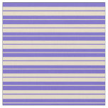 [ Thumbnail: Slate Blue & Tan Stripes Pattern Fabric ]