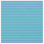 [ Thumbnail: Slate Blue & Turquoise Stripes/Lines Pattern Fabric ]