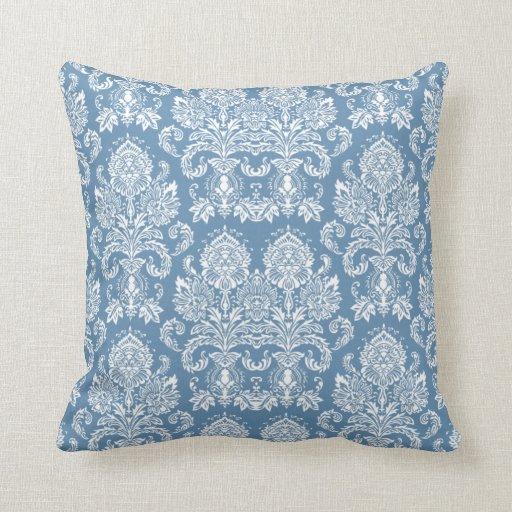 Slate Blue Victorian Damask Throw Pillows Zazzle
