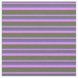 [ Thumbnail: Slate Blue, Violet & Dark Olive Green Stripes Fabric ]