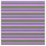 [ Thumbnail: Slate Blue, Violet & Dark Olive Green Stripes Fabric ]