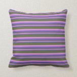 [ Thumbnail: Slate Blue, Violet & Dark Olive Green Stripes Throw Pillow ]