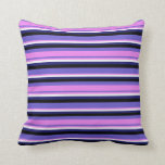 [ Thumbnail: Slate Blue, Violet, White, Midnight Blue & Black Throw Pillow ]