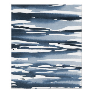 Slate Blue Watercolor Abstract Stripes Poster