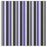 [ Thumbnail: Slate Blue, White & Black Colored Lined Pattern Fabric ]