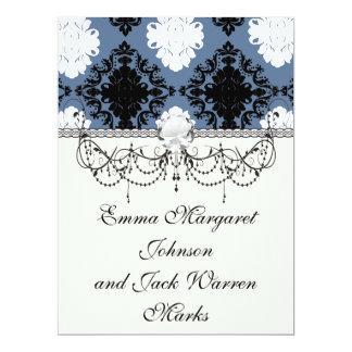 slate blue white black diamond damask 6.5x8.75 paper invitation card
