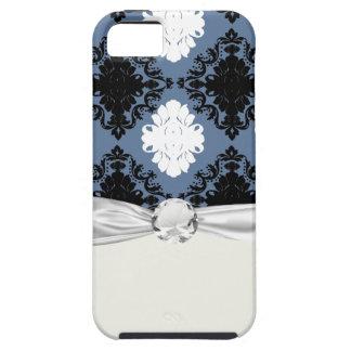 slate blue white black diamond damask iPhone SE/5/5s case