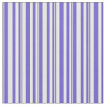 [ Thumbnail: Slate Blue & White Colored Lined Pattern Fabric ]