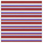 [ Thumbnail: Slate Blue, White & Dark Red Colored Lines Fabric ]