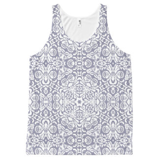 Slate Blue White Geometric Lace All Over Tank All-Over Print Tank Top