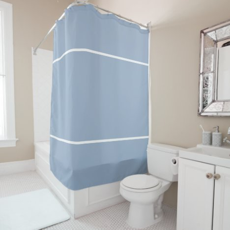 Slate Blue White Lines Shower Curtain
