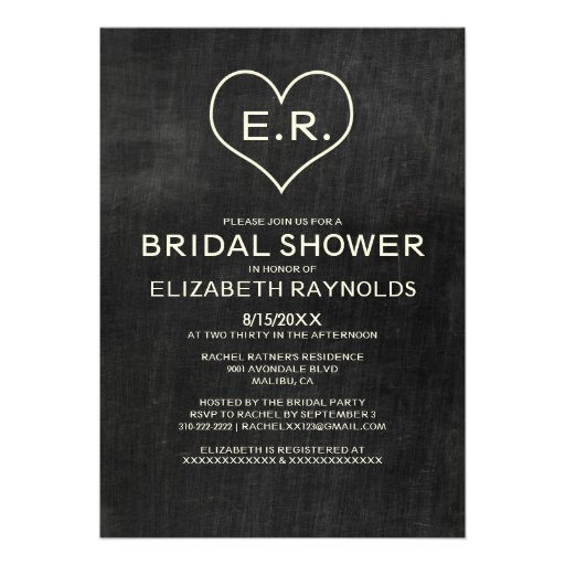 Slate Bridal Shower Invitations Custom Invite
