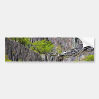 Slate cliff with trees car bumper sticker
