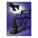 Slate del director, silla y luz 2 de la etapa invitación 11,4 x 15,8 cm