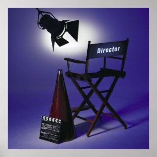 Slate del director, silla y luz 2 de la etapa póster
