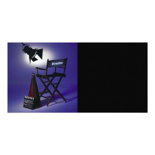 Slate del director, silla y luz 2 de la etapa tarjeta fotográfica personalizada