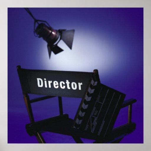 Slate del director, silla y luz de la etapa póster