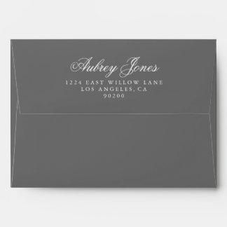 Slate Gray A7 Pre-Addressed Linen Envelopes