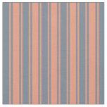 [ Thumbnail: Slate Gray and Dark Salmon Pattern of Stripes Fabric ]