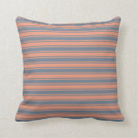 [ Thumbnail: Slate Gray and Dark Salmon Pattern of Stripes Throw Pillow ]