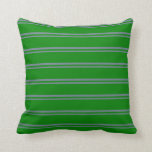 [ Thumbnail: Slate Gray and Green Stripes Pattern Throw Pillow ]