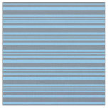 [ Thumbnail: Slate Gray and Light Sky Blue Colored Stripes Fabric ]