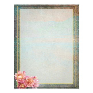Slate Gray and Pale Pink Roses with Gold Frame Letterhead