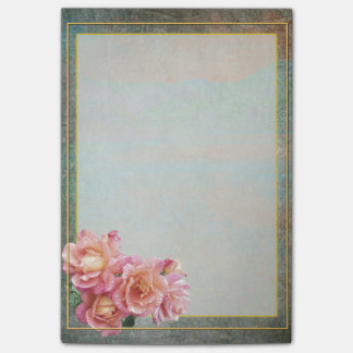 Slate Gray and Pale Pink Roses with Gold Frame Post-it Notes